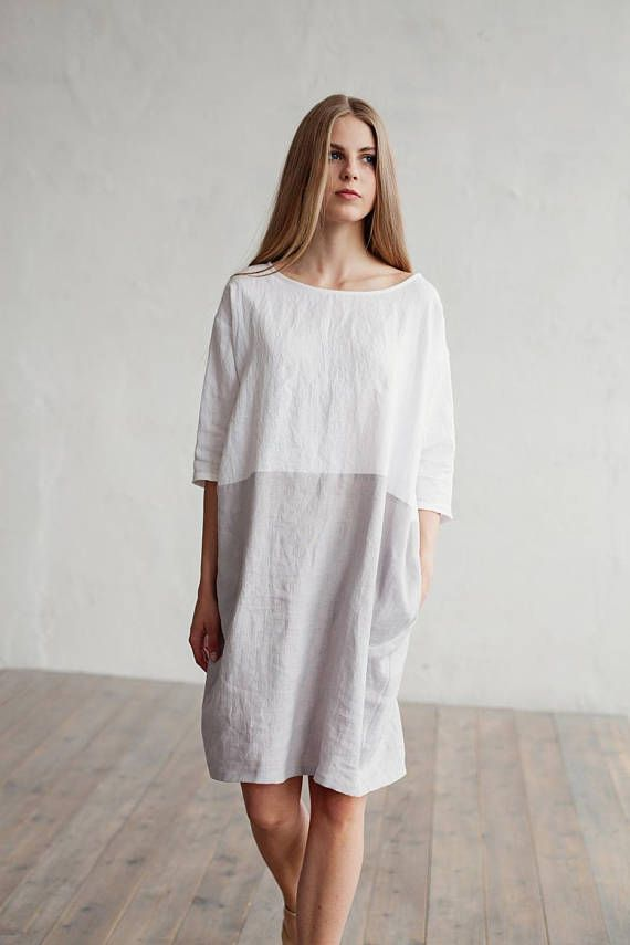 Color Block Linen Dress Adria White And Gray Colors Knee Length
