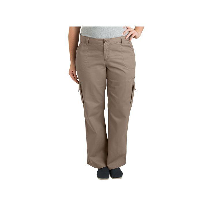 Plus Size Dickies Cargo Pants, Women's, Size: 20 W, Beig/Green (Beig/Khaki)
