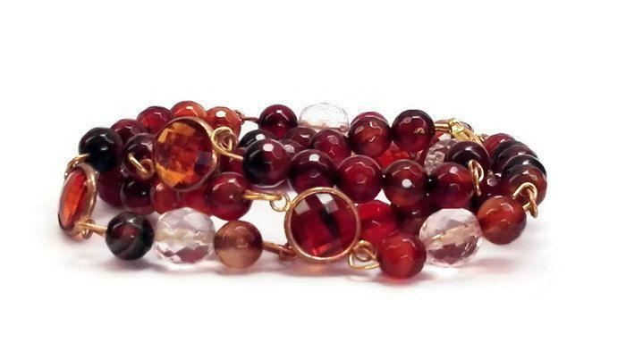 Collana catena di perline marrone di varie sfumature, alternate da perle trasparenti sfaccettati, con distanziatori ambrati e dorati. di CoccinellaShop83 su Etsy
