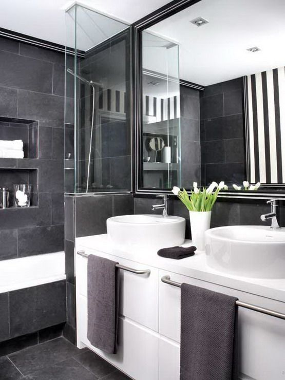 Charcoal and white bathroom. Love the tile and the towel rods in front of the sink!