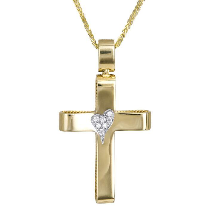 Γυναικείος χρυσός σταυρός με καρδιά 14Κ με καδένα 024288C
