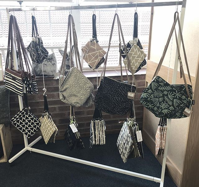 BAGS BAGS BAGS!!! We have a variety of beautiful printed fabric sling bags and clutches from Cloth and Print Zana Love Milo and Sparrow Society available at our Collective shop at Kamers/Makers at St Davids Marist #bags #slingbags #clutchbag #kamers2018 #localdesign #shoplocal #PRESENTspace #aLOCALcollective #popupshop