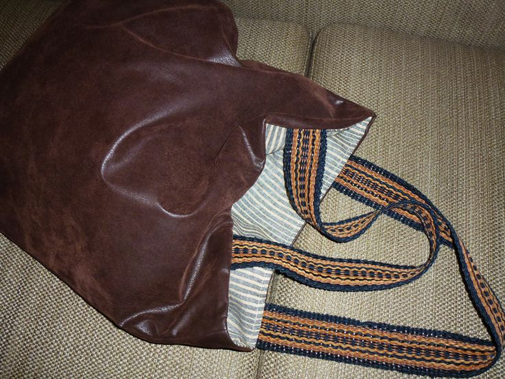 brown leather double face bag