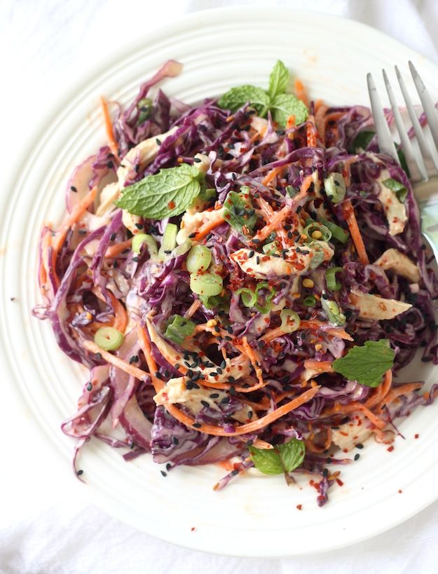 Red Cabbage Salad with Spicy Miso Dressing