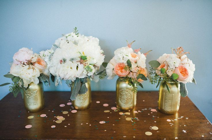 gold painted  mason jars #love
