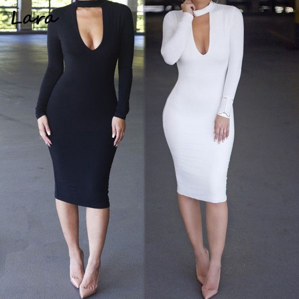 Winter Long Sleeve Sexy Club Dress 2016 Plus Size Women Clothing White... ❤ liked on Polyvore featuring dresses, white bodycon dresses, sexy white cocktail dress, white long sleeve dress, plus size cocktail dresses and white long-sleeve dresses