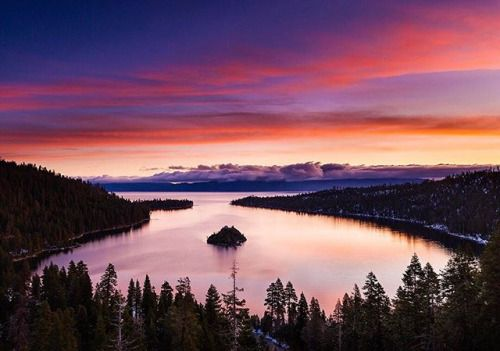 Photo By Josh Miller. This view from Emerald Bay at sunrise is one of the most classic locations around Californias Lake Tahoe. For other great year-round photo ideas check out @joshmillerphotographys article Tahoe For All Seasons in the March issue! #OPMarch #naturephoto #main_vision #artofvisuals #watchthisinstagood #landscape_captures #awesome_earthpix #awesomeearth #ourplanetdaily #naturelovers #travel #adventure #travelog #californiadreaming #tahome #tahoelife #tahoebound via Outdoor…