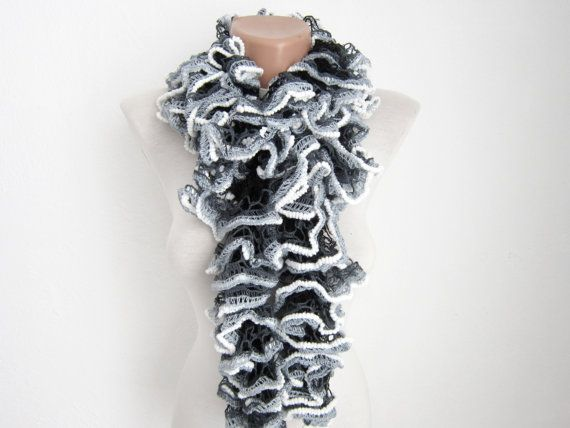 Black Grey White  Knit Scarf Fall Fashion Frilly by scarfnurlu