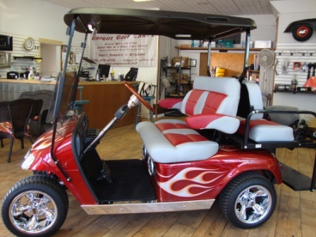Matching seats with arm rests, extremely nice match to this full custom golf cart