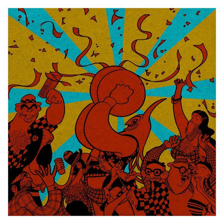 """Felipe Elgueta ~ illustration for """"Conmoparranda,"""" by Banda Conmoción"""