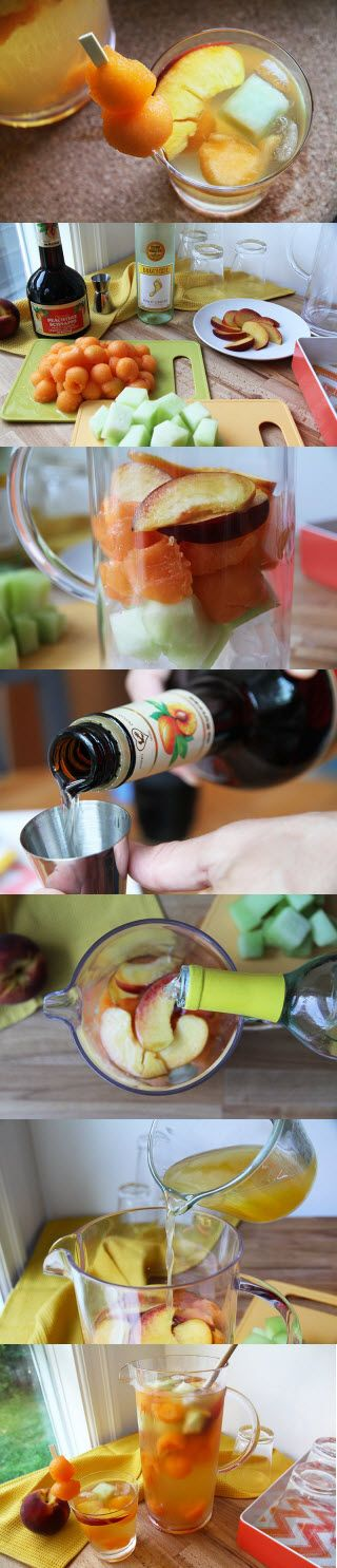 Sangria blanche aux pêches et cantaloup. #sangria #schnapps #vinblanc #punch (photo: Marie Charest - Remarke)