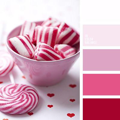blanco, burdeos, color caramelo de azúcar, color lila, combinación de colores, elección del color, lila pálido, paleta de colores, rojo, rojo oscuro, rosado claro, rosado vivo, tonos lilas, tonos rosados.