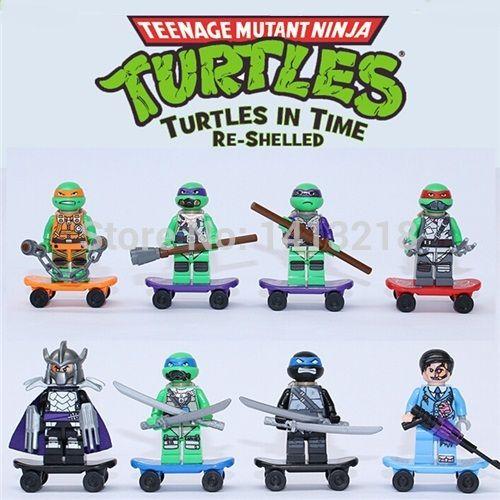 8 шт./лот Super heroes Комиксы Фильм Teenage Mutant Ninja Turtle TMNT Minifigures Блоки Игрушки Для Мальчиков Подарки Legoelied