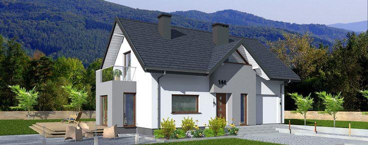 Ontario - projekt domu z poddaszem użytkowym, o powierzchni użytkowej 87,2 m2 z jednostanowiskowym garażem.