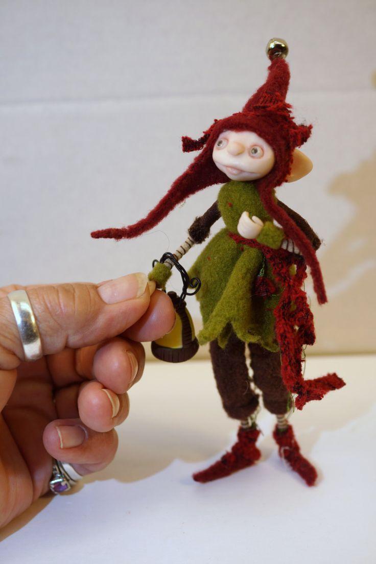 ooak poseable WOODLAND GNOME elf ( 43 ) fairy pixie art doll by DinkyDarlings by DinkyDarlings on Etsy