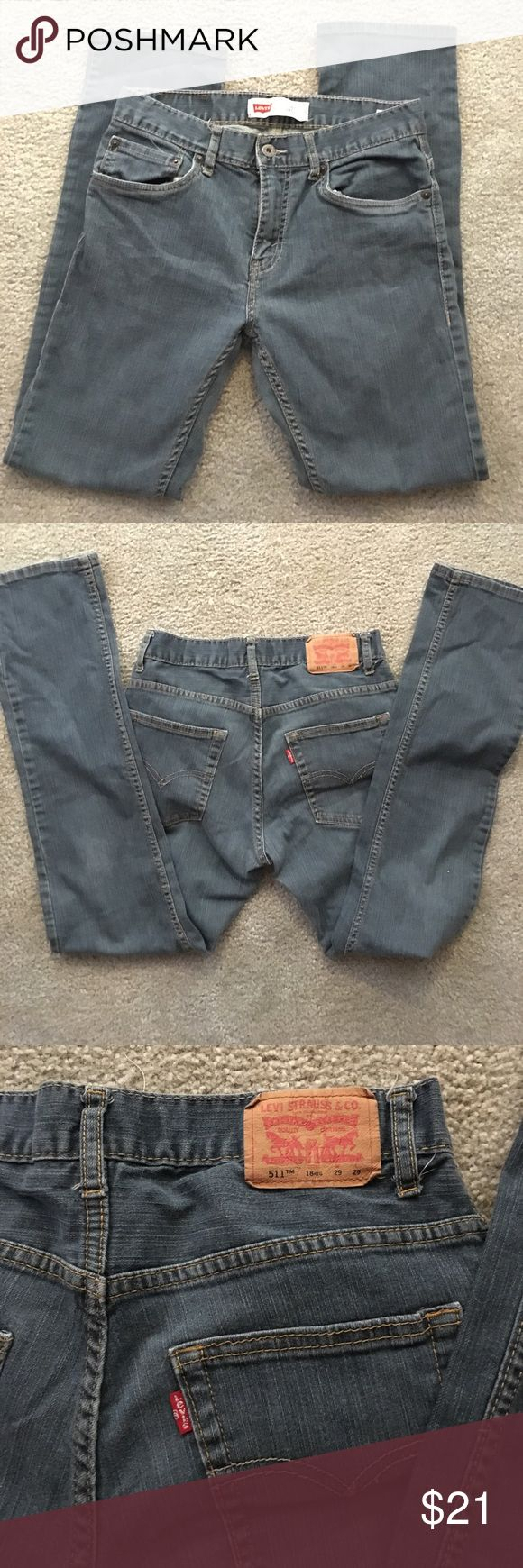 Levi's 511 Slim cut 29X29 Levi's 511 slim tag reads waist 29 inches length 29 inches.    actual measurement 31 inches waist inseam 29 1/2 inches nice fade 99% cotton 1% spandex Levi's Jeans