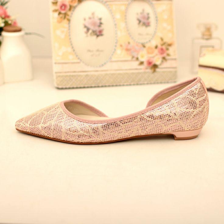 Корейские блестки плоские туфли мелкая рот с одной стороны дупле отметил плоские туфли летние модные туфли 2014 новые туфли - Taobao