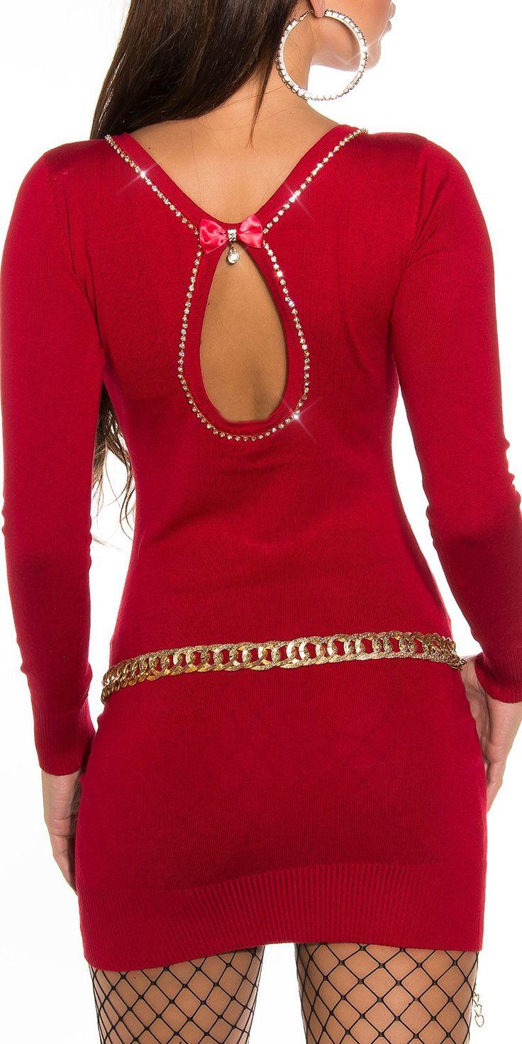 Comparte y gana un descuento Vestido Corto Rojo Manga Larga con Brillantes