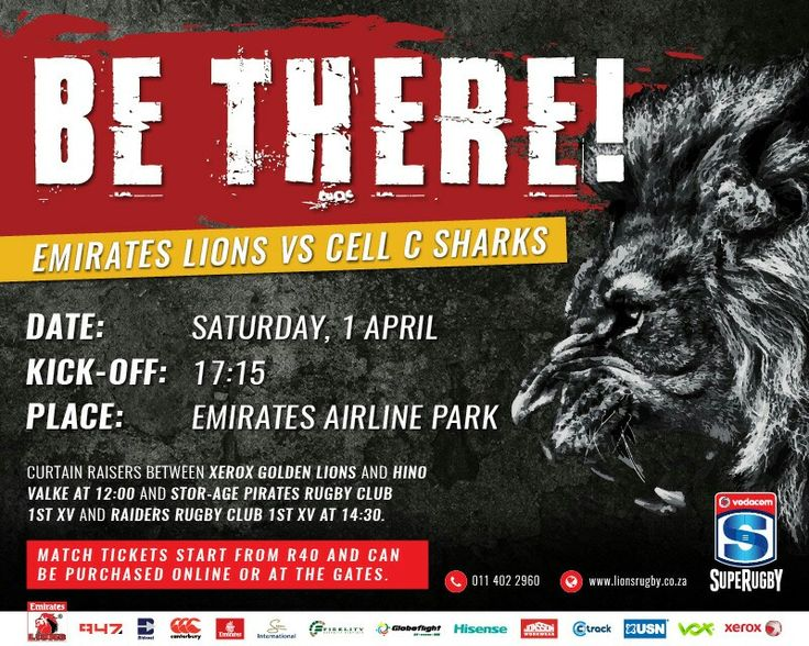 Make Sure You Dont Miss A Lions Moment By Buying Your Ticket For Saturdays Super Rugby Clash Against The Sharks On Home Ground