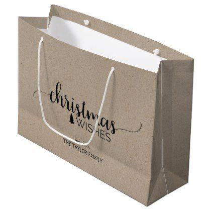 Faux Kraft Simple Calligraphy Christmas Large Gift Bag - chic design idea diy elegant beautiful stylish modern exclusive trendy