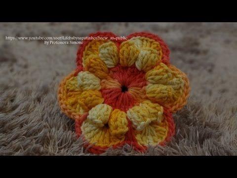 Passo a passo Flor de Crochê Sidi - Professora Simone - YouTube