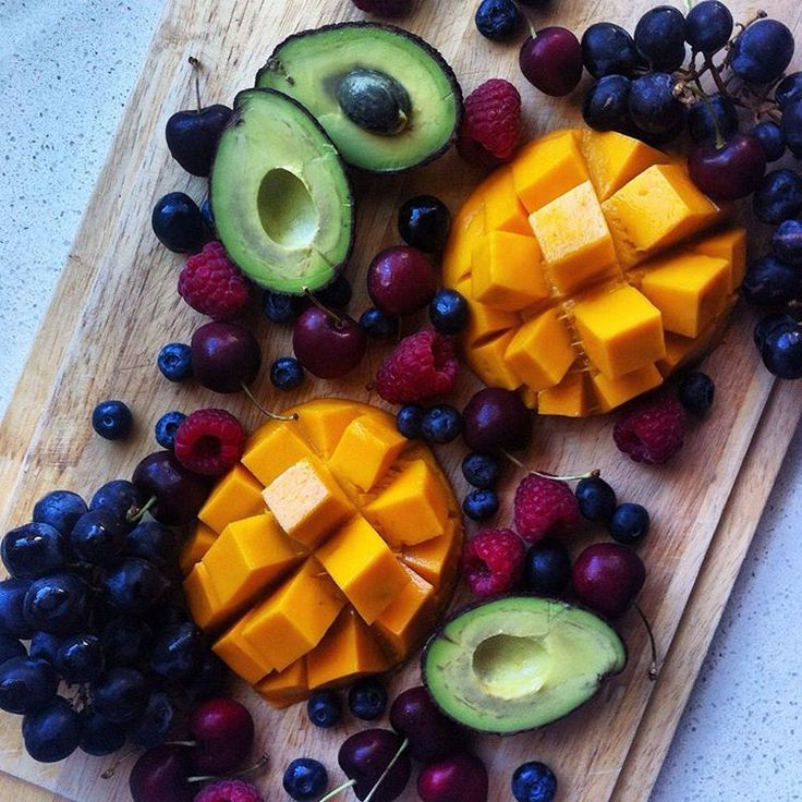 fruit platter: mango, avo, blueberries, cherries, grapes & raspberries