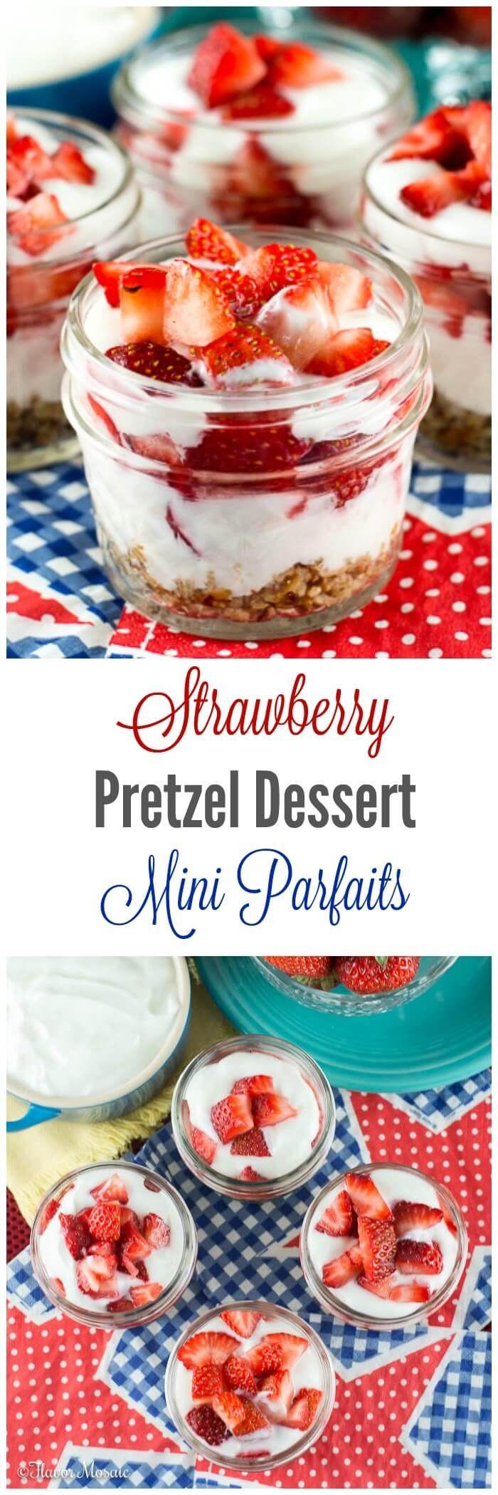 Strawberry Pretzel Dessert Mini Parfaits are a lightened up version of the traditional Strawberry Pretzel Dessert, made with Greek yogurt and served in mini mason jars.