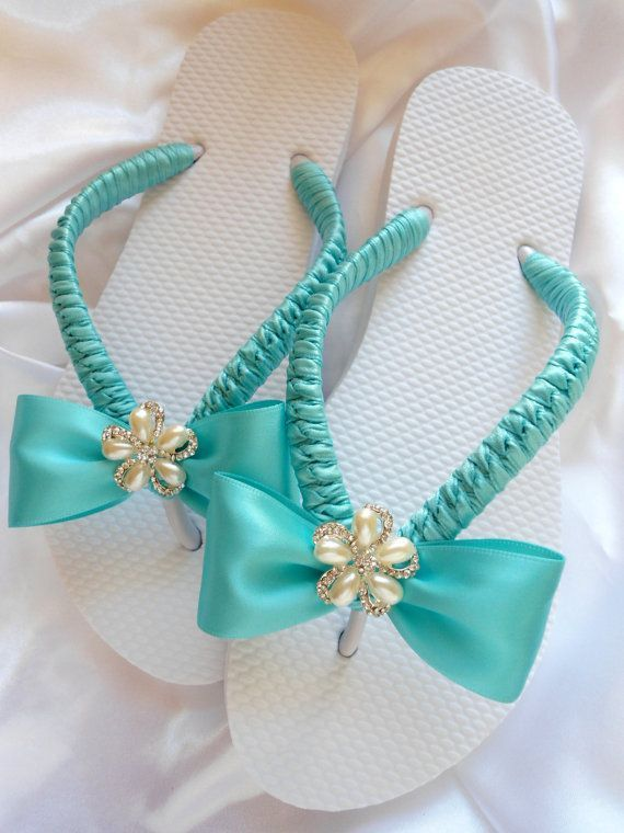 Blue dancing shoes - Bridal flip flops - Beach Wedding