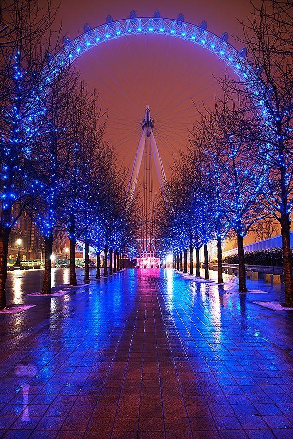 Blue lit path to the Glowing London Eye!