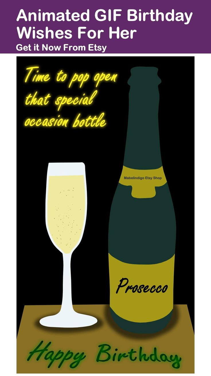 Animated ecard prosecco happy birthday wishes drinking