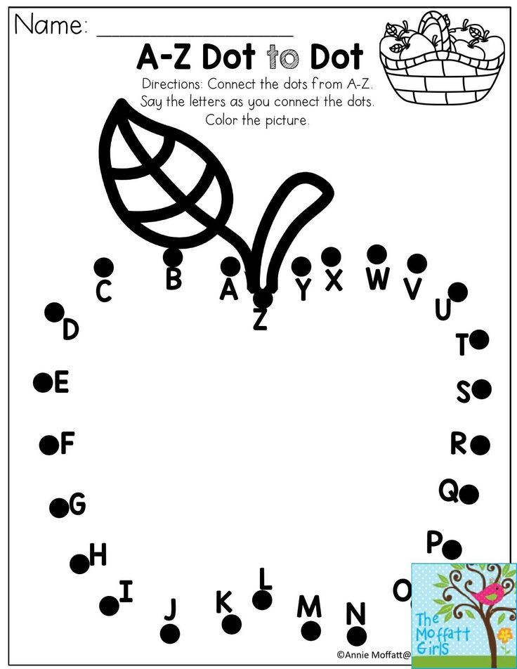 A-Z Dot to Dot- Connect the dots from A-Z. Perfect for a Preschool Back to School activity!