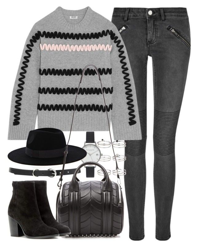 """Outfit for winter with a jumper and black suede boots"" by ferned ❤ liked on Polyvore featuring BLK DNM, Kenzo, Miss Selfridge, Olivia Burton, Forever 21, Warehouse, Alexander Wang and rag & bone"