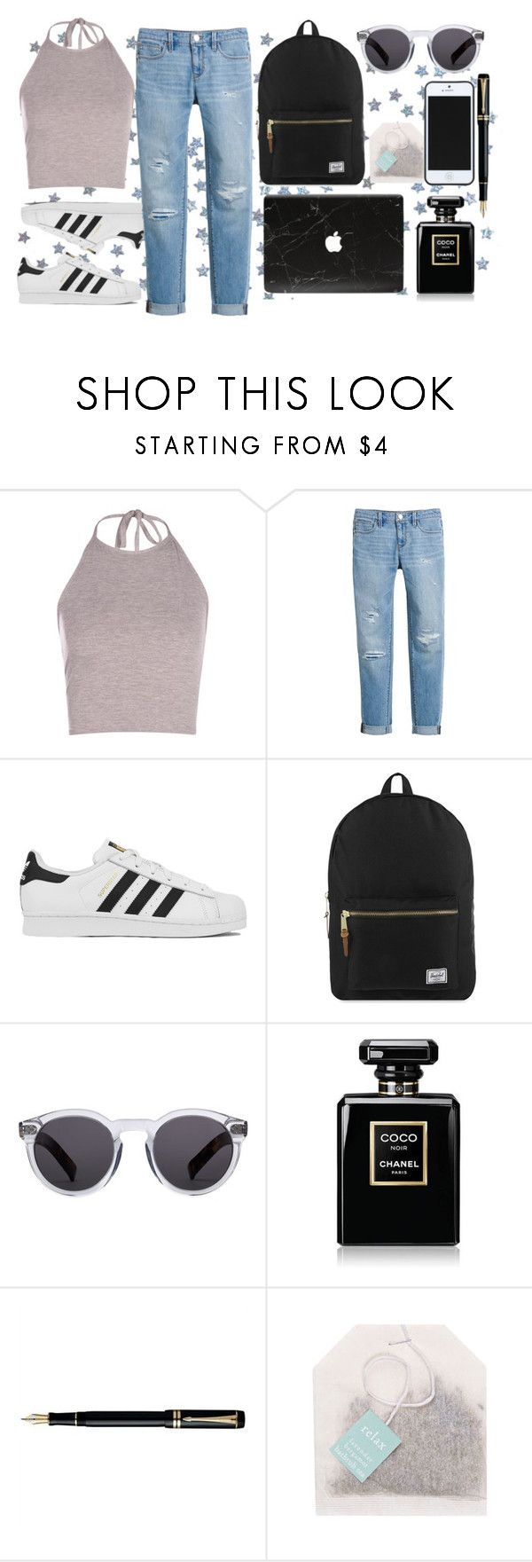 """""""UNTITLED"""" by go1df1sh ❤ liked on Polyvore featuring Boohoo, White House Black Market, adidas, Herschel Supply Co., Illesteva, Chanel, Fountain and Kate Spade Saturday"""