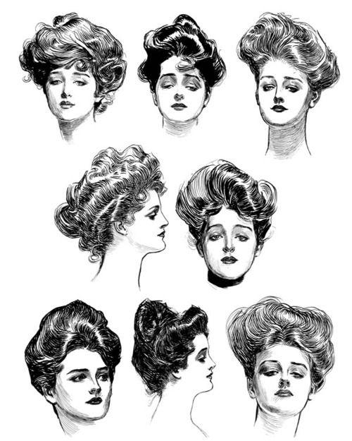 Gibson Girls: Vintage Hairstyles, Hair Styles, Illustration, Art, 1900, Gibson Girls, Dana Gibson, Drawing, Charles Dana