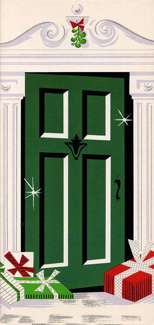 Vintage 1966 Christmas Card - Front Door by Miehana, via Flickr