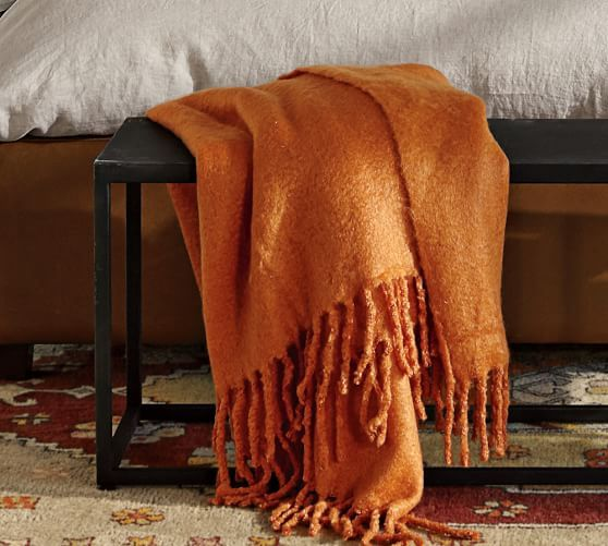 Faux Solid Mohair Oversized Throw | Pottery Barn