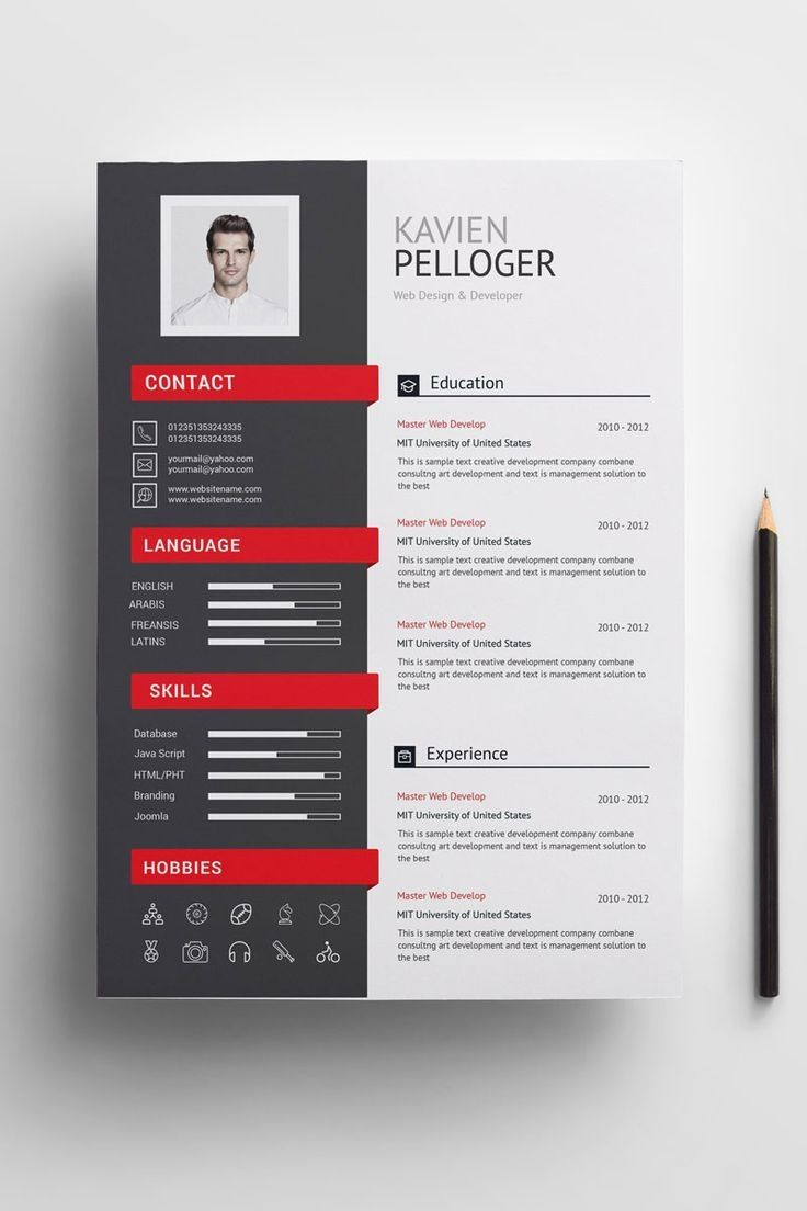 A4 Paper Size 210x297 Mm Two Page Template Resume Cv One Page