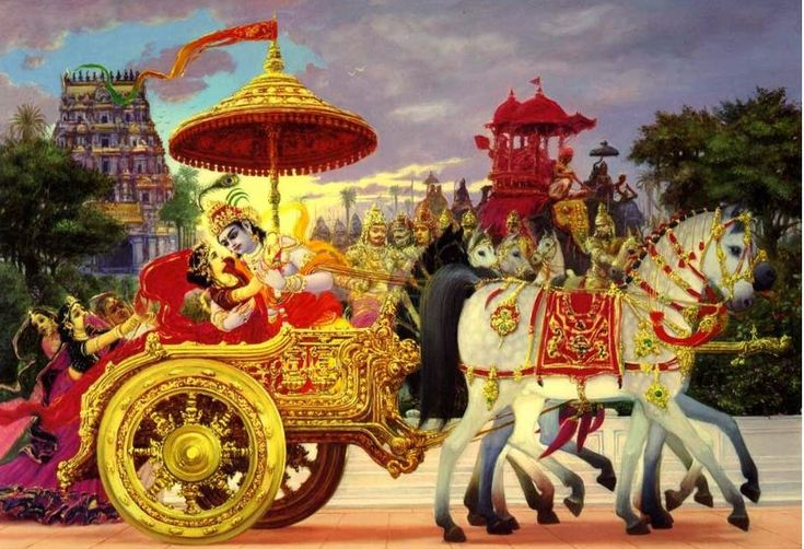 Krishna kidnaps Rukmini and rides away in his chariot Rukmini is said to be the incarnation of Goddess Laxmi. Rukmini is perfectly portrayed as the devotional wife Krishna, who fell in love just by hearing Krishna's stories and agreed to marry him without meeting or seeing Krishna.