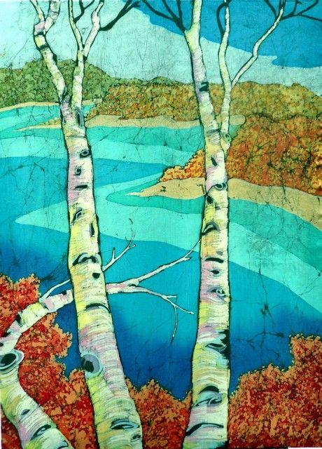 #Birch On Glen Lake  Fine Art #Batik Painting by #TerriHaugenArt, $2200.00
