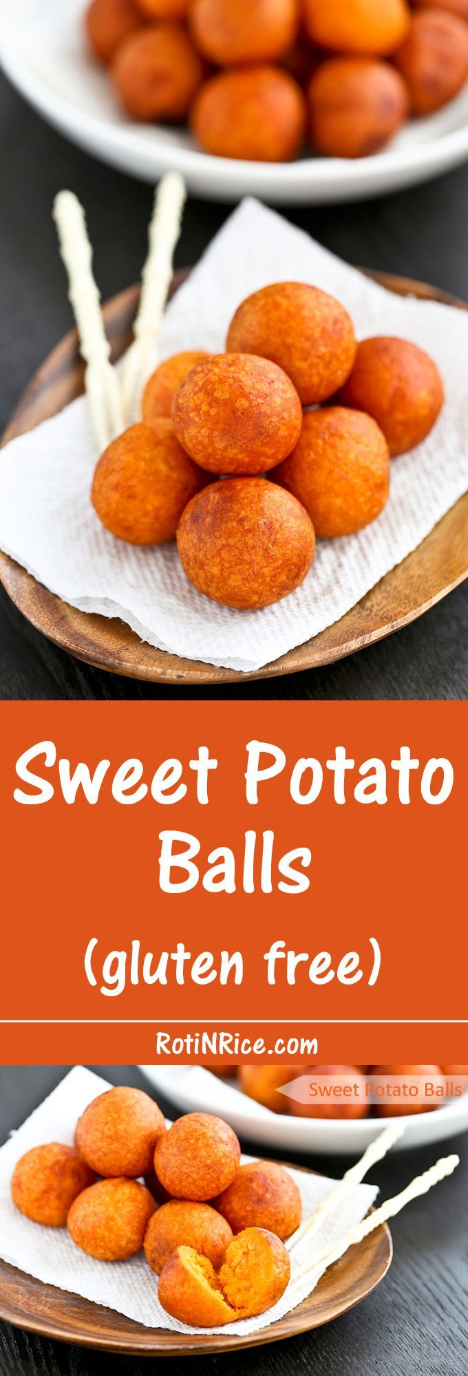 Only a few simple ingredients used in these gluten free Sweet Potato Balls deep fried to golden perfection. They make a tasty tea time or snack time treat.   Food to gladden the heart at RotiNRice.com