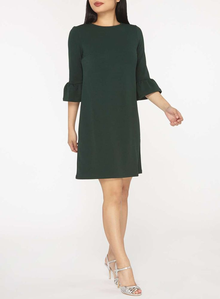 Womens Petite Green Flute Sleeve Jersey Shift Dress- Green