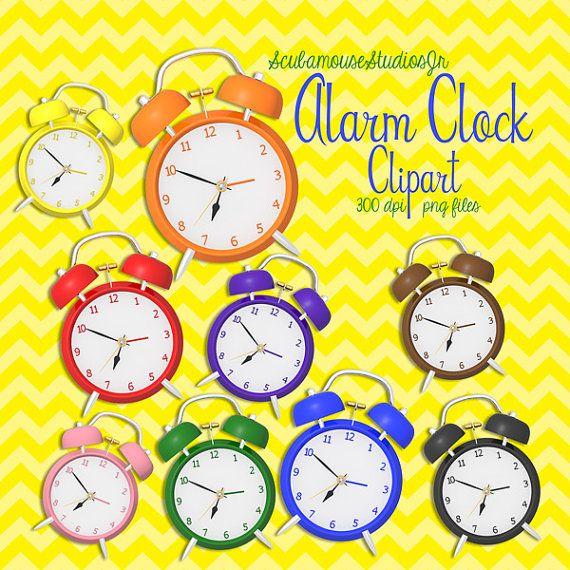 Alarm Clock Clipart Clock Clipart 300 dpi by ScubamouseStudiosJr, $5.00