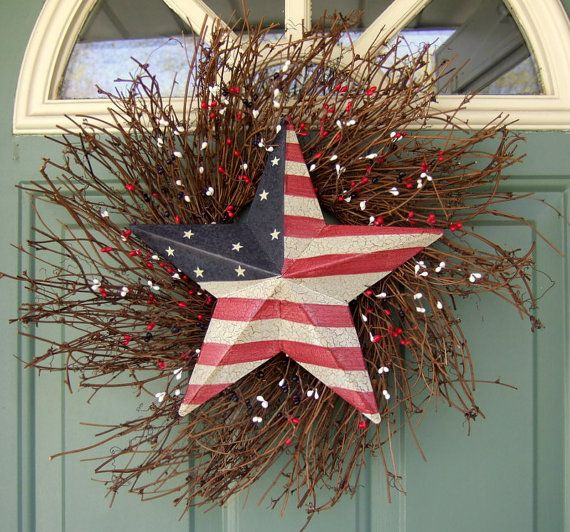 Summer Wreath  Patriotic Wreath  Star Wreath  Flag ... red white & blue by countryprim on Etsy #summer #decor #brown #red #white #blue #4thofjuly