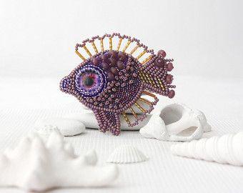 Brooch handmade Beaded Beadwork Embroidered от ArtBeadedHouse