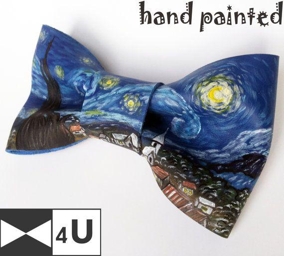 Van Gogh Starry Night Doctor Who Leather Bow Tie Geeky Fancy Bowtie Necktie…