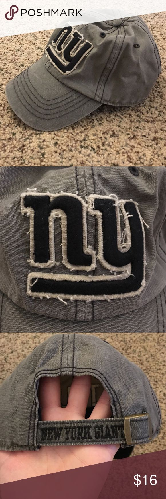 "NWOT NY Giants hat Brand new NYG hat. Medium gray color with navy blue distressed logo. Adjustable back with cool ""New York Giants"" detail. NFL Team Apparel. NFL Accessories Hats"