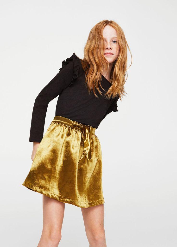 Plisserad kjol sammet -  Flicka | MANGO Kids Sverige