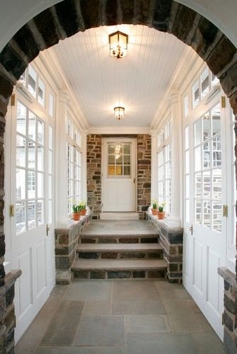 enclosed breezeway • wood | stone | glass