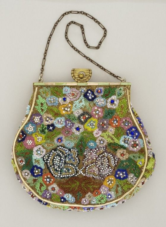 1930, America - Woman's Beaded Handbag by Monika Danielski - Silk, paste stones, beads