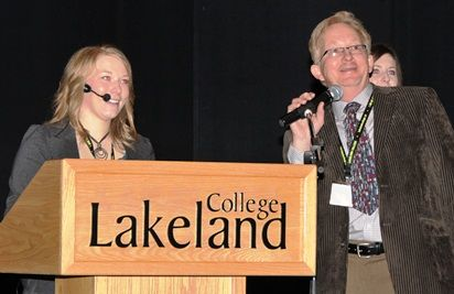 Students completing the bachelor of applied science: environmental management program delivered their capstone presentations at the Vermilion campus Jan 30, 2012 to a crowd of industry experts, faculty and students. Keynote speaker was Chelsea Gatzke (pictured here with Lakeland's Dr. Lee Arthur) who provided insights into the 2010 wellsite criteria for Alberta native rangelands and native infill assessments 3 years after reclamation.